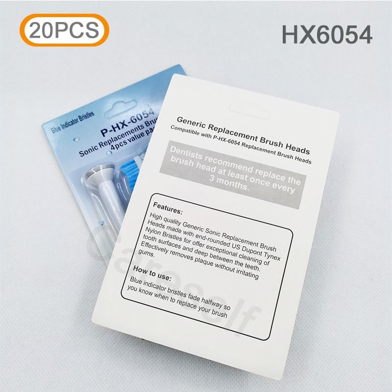 20 piezas cabezales de cepillo de dientes nuevos HX6054 cabezales de repuesto de cepillo de dientes eléctrico para Ph Soni cuidado sensible fácil limpieza de diamantes