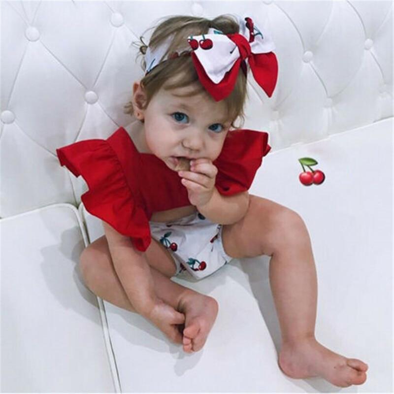 Verano 2020, ropa para bebé niña recién nacida, mono con cinta para cabello de Manga mariposa, conjunto de traje de verano