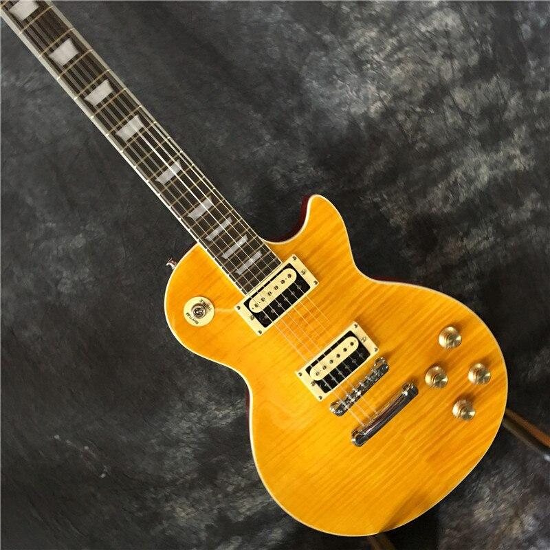 جيتار كهربائي مائل ، جسم قيثارة أصفر ، منتج جديد عالي الجودة ، شحن مجاني