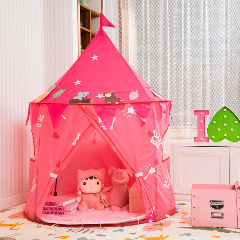 Los niños princesa Castillo jugar tienda, juego de niños tienda casa portátil Garland juguetes para bebé de interior al aire libre juguetes para jugar a las casitas tienda rosa