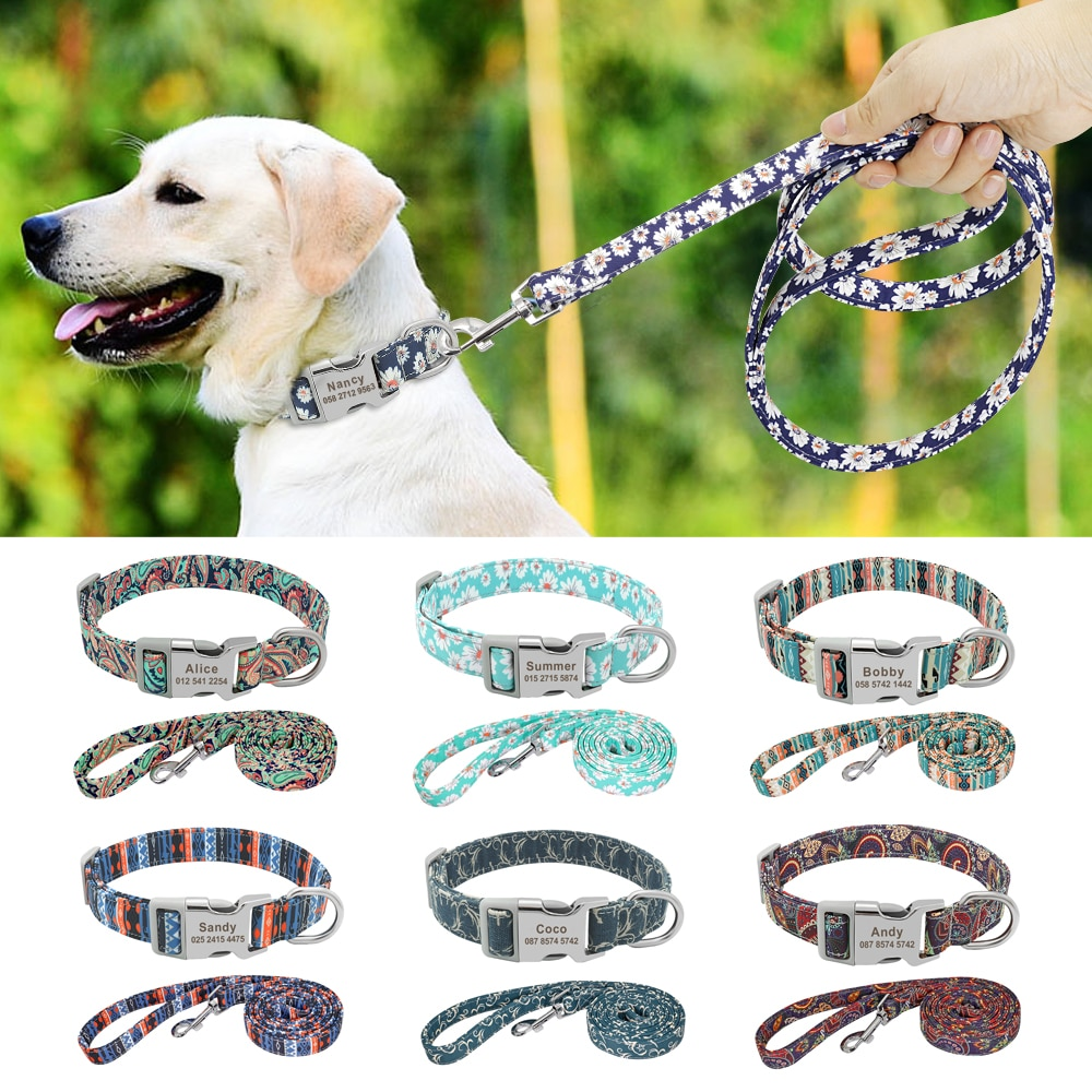 Dog Collar Leash Personalized Custom Nylon Dog Collar Lead Name ID Tags For Small Medium Large Dog Pitbull Bulldog Beagle Collar