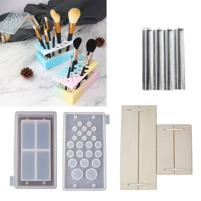 1 Set Handmade Makeup Brush Holder Organizer Resin Mold Cosmetics Brushes Storage Solution Resin Casting Mold Art Crafts Tools
