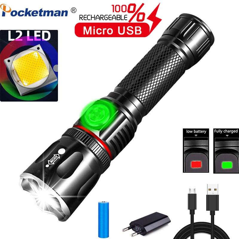 Linterna LED multifuncional de LM L2 T6 batería recargable USB potente COB Zoom linterna luz trasera magnética de trabajo