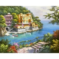 landscape oil painting by number canvas handpainted frame diy craft kits acrylic paint for adults picture by number decoration