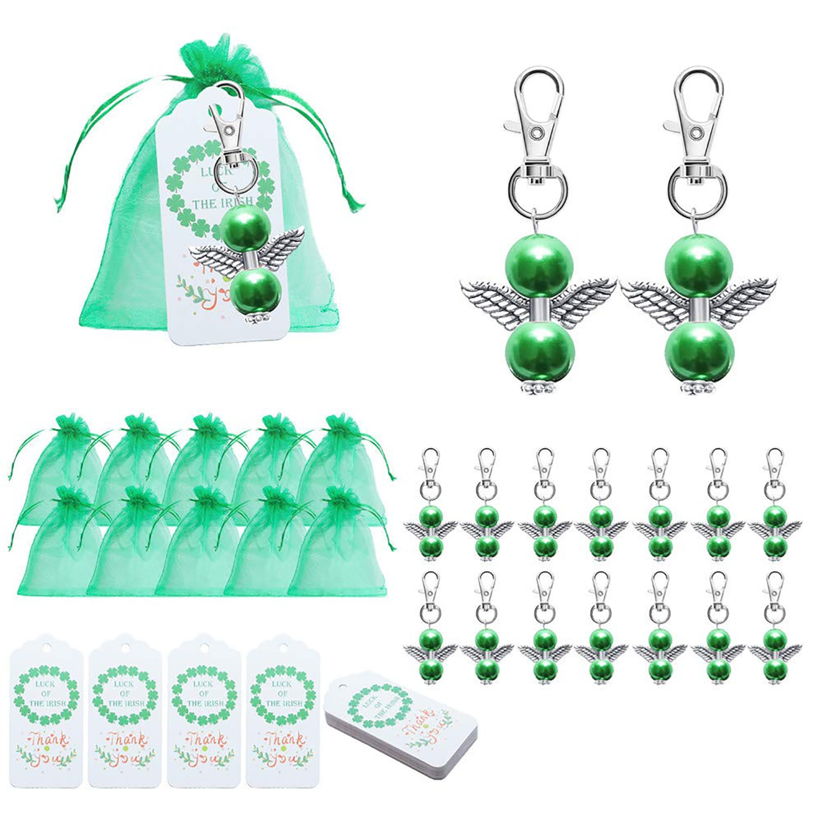 20 Sets St. Patrick's Day Themed Angel Keychains Irish Festival Party Supplies Holiday Masquerade Clover Gift Bags