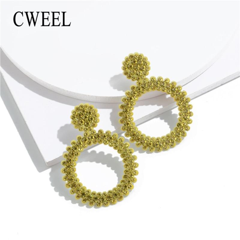 CWEEL Gelb Bohemian Runde Perlen Tropfen Baumeln Ohrringe Fringe Mode frauen Ohrringe 2019 Sommer Erklärung Earing