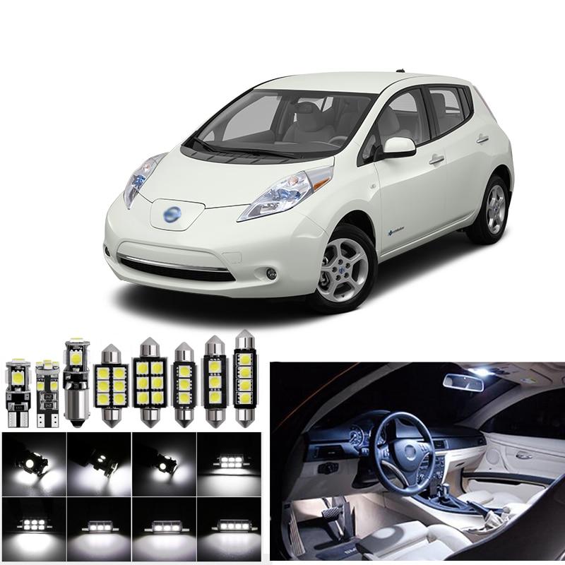 Luces interiores Led para Nissan leaf 2011 + luces Led para coches kit de iluminación bombillas automotrices Canbus Dome Light Trunk lámpara T10 12V 12V