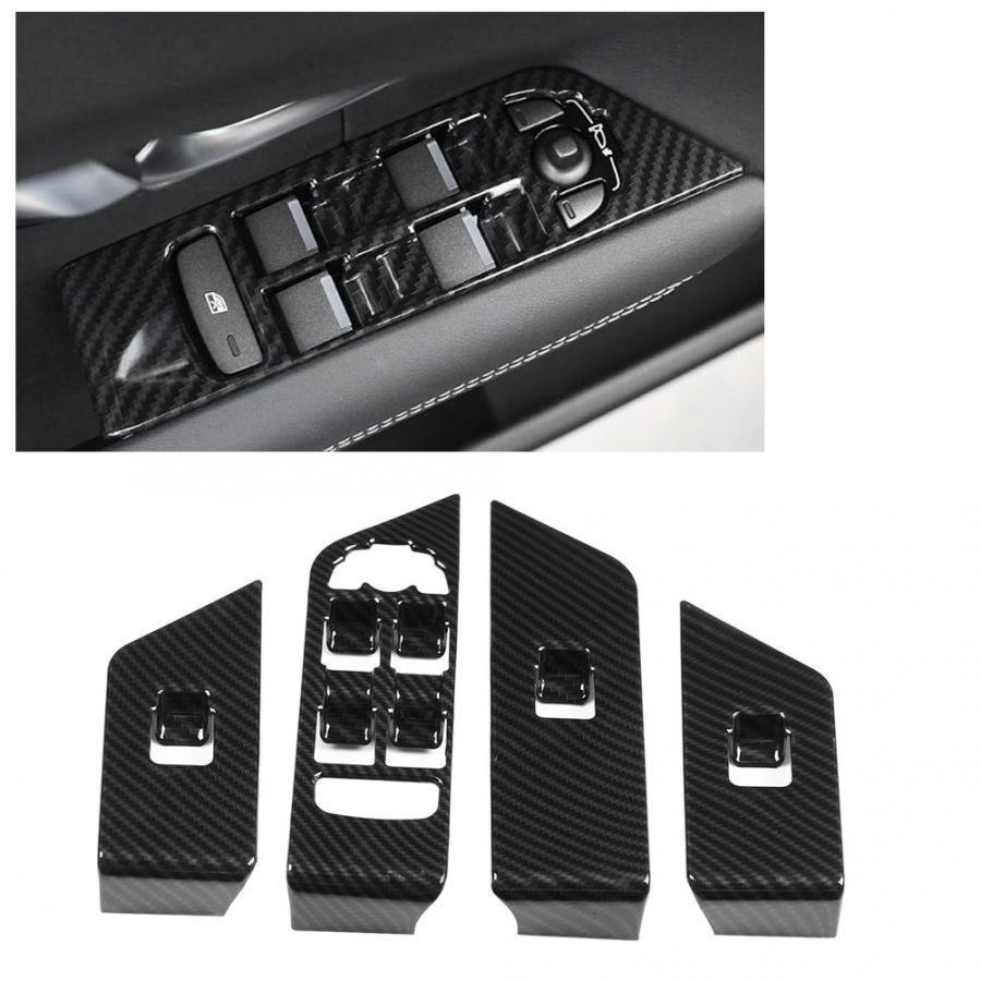Para Land Rover Range Rover Evoque 2012-2018 fibra de carbono estilo ABS plástico coche ventana elevador botón recortado mano izquierda