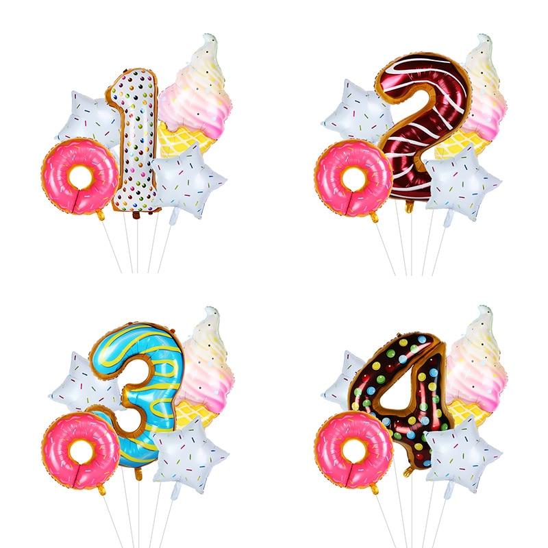 5 unids/lote de globos de cumpleaños de helado de Donut, Set de globos de aluminio con números de 40 pulgadas, globos de aire para niños, fiesta de cumpleaños 2ª 1ª, globos de decoración
