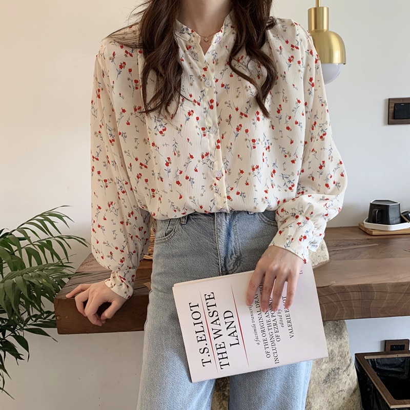 French Floral Shirt Women's New Spring and Autumn Retro Easy Matching Loose Outer Wear Design Long S