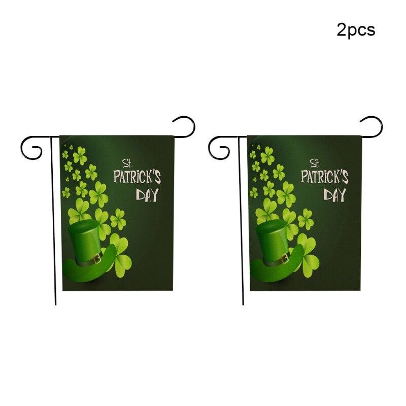 2PCS Happy St. Patricks Day Garden Flag Decorative Irish Green Shamrocks Flag for Garden and Home Decoration