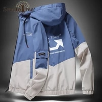 spring and autumn mens jacket casual color block large size hooded jacket