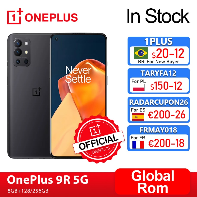 Global Rom OnePlus 9R 9 R 5G Smartphone 8GB 128GB Snapdragon 870 120Hz AMOLED Display 65W Warp 48MP