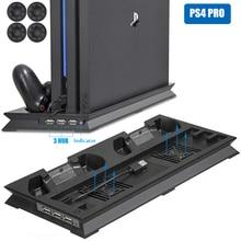 Ps4 pro ultrathin 충전 용 방열판 냉각 팬 sony playstation4 pro 듀얼 충전기 용 수직 스탠드 홀더