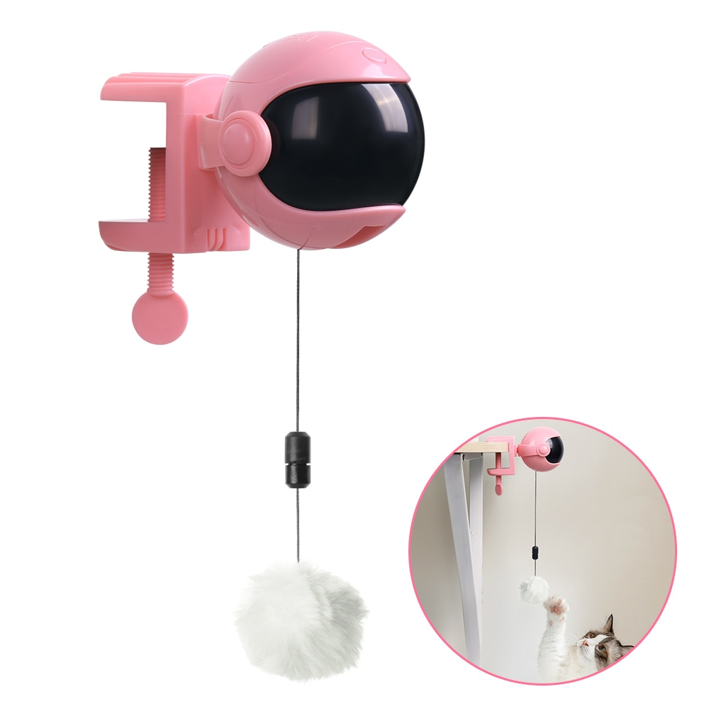 Movimento eletrônico gato brinquedo de levantamento bola engraçado gato teaser brinquedo elétrico flutter rotativa interativo brinquedo do animal estimação suprimentos