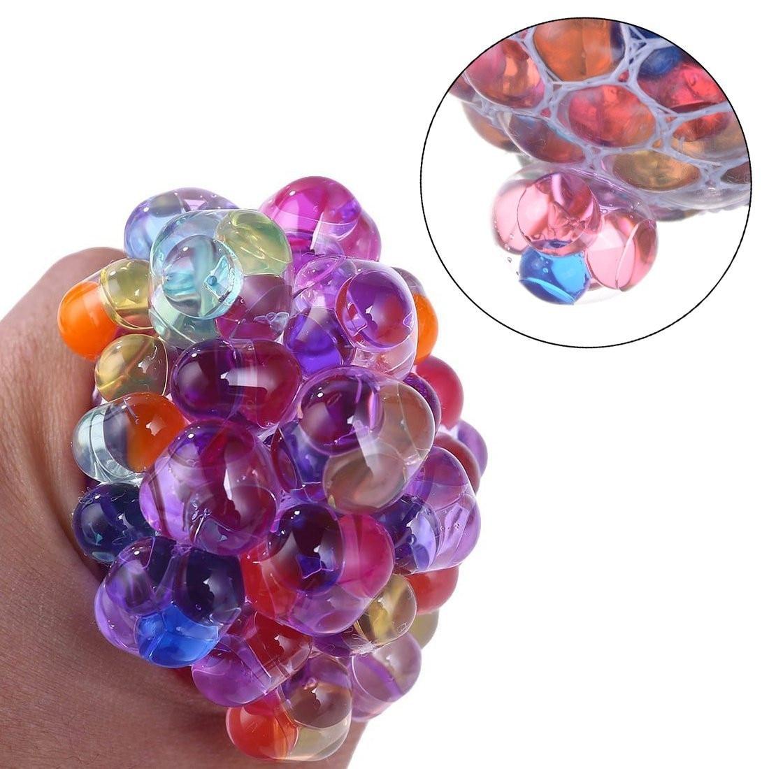 Divertido Anti-estrés squishy LED Bola de malla uva Squeeze sensorial Fruity novedad juguetes niños y adultos jugar Vent Rainbow Ball toy
