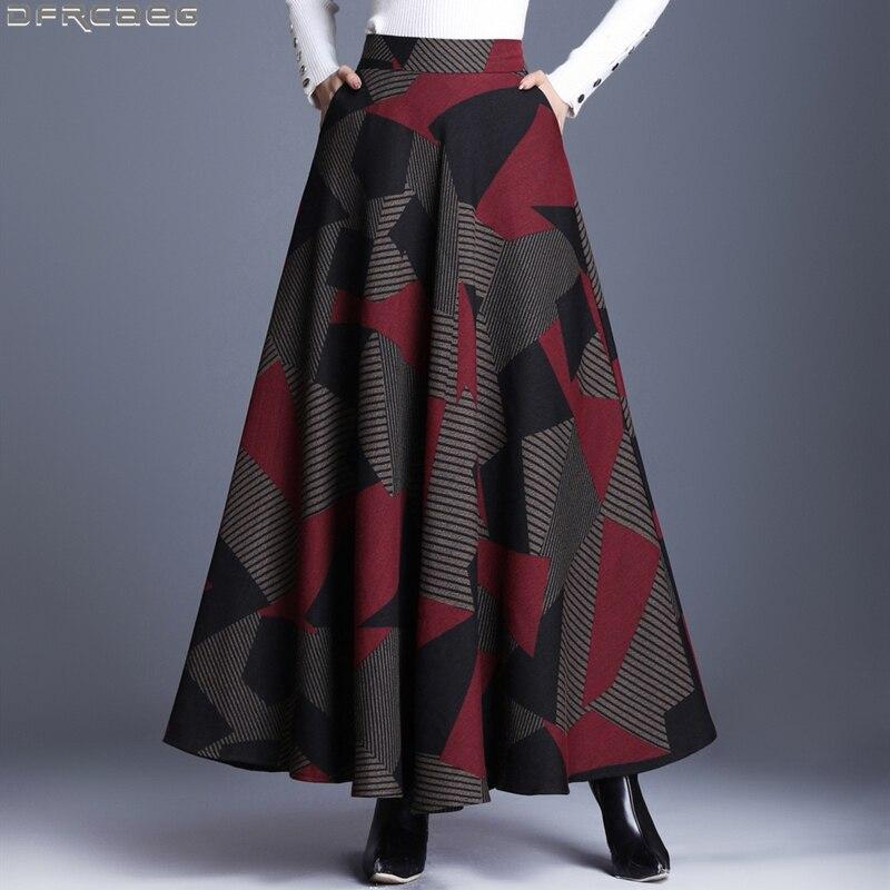 Retro Elastic High Waist Maxi Skirts For Women Winter Velvet Woolen Long Skirt Female Plus Size Print Tartan Skirt A-line Faldas empire waist tartan print slip dress