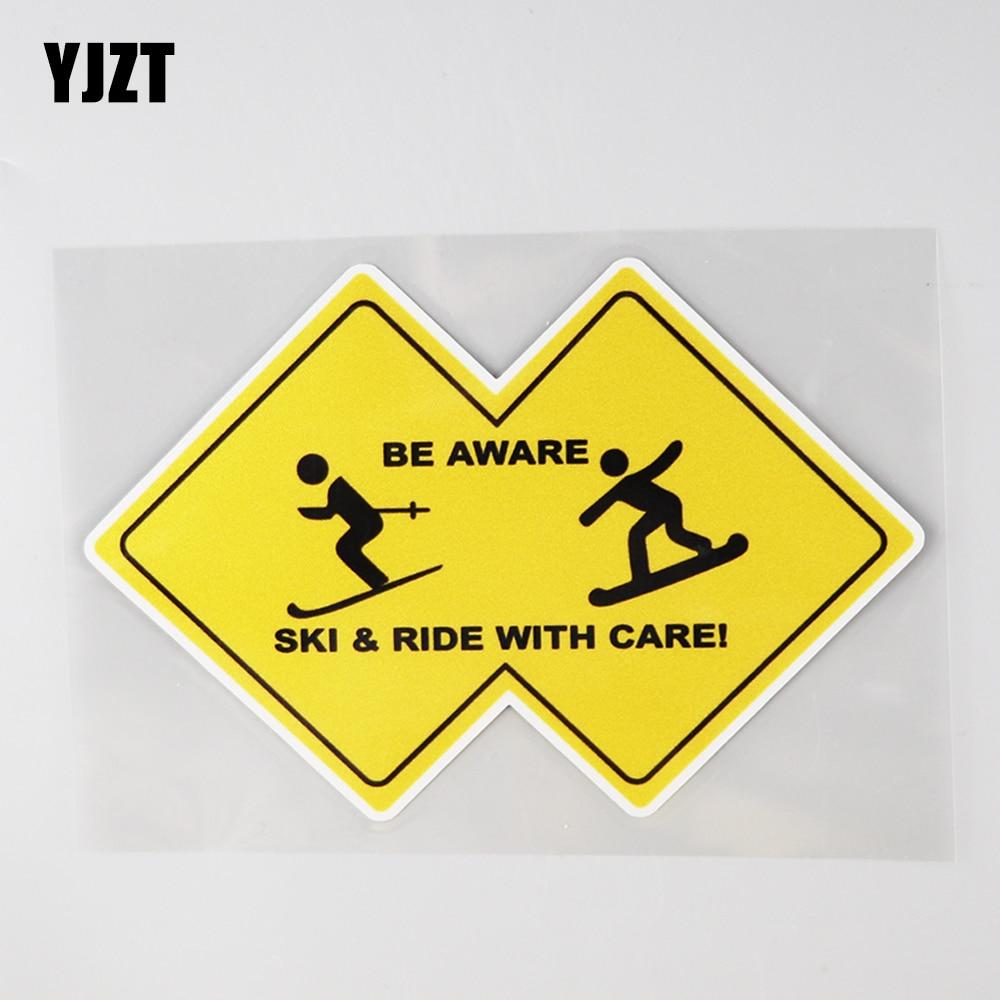 YJZT 15.5CM×10.5CM Be Aware Ski&Ride With Care! Decal PVC Car Sticker 12C-0606