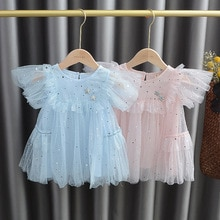 2020 Baby Girls Sweet mesh Dress Five-Pointed Star Sequins Girls Princess Veil Dress  kids baby girl cloths