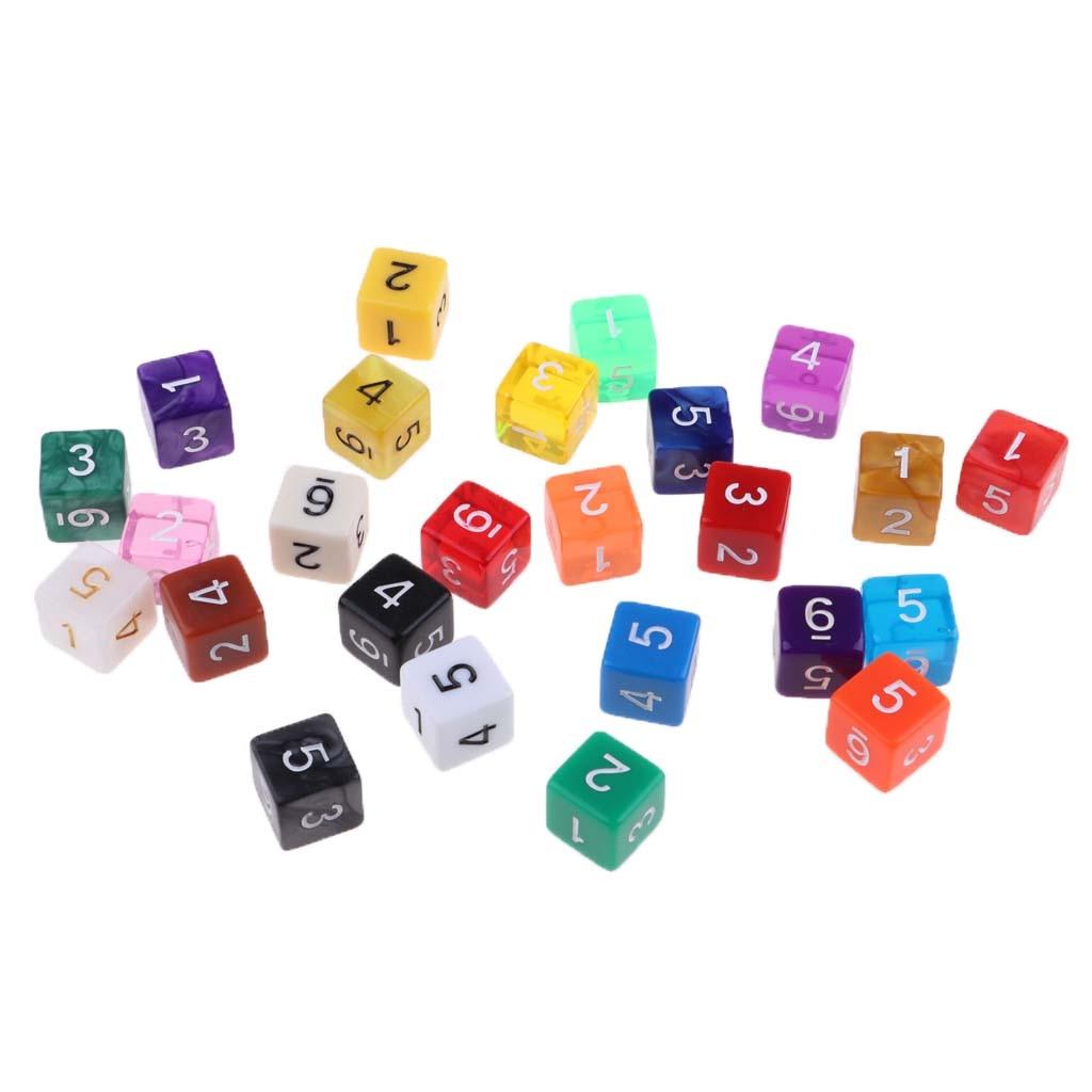 25 dados polyhedral d6 dos pces para a cor aleatória do jogo de trpg