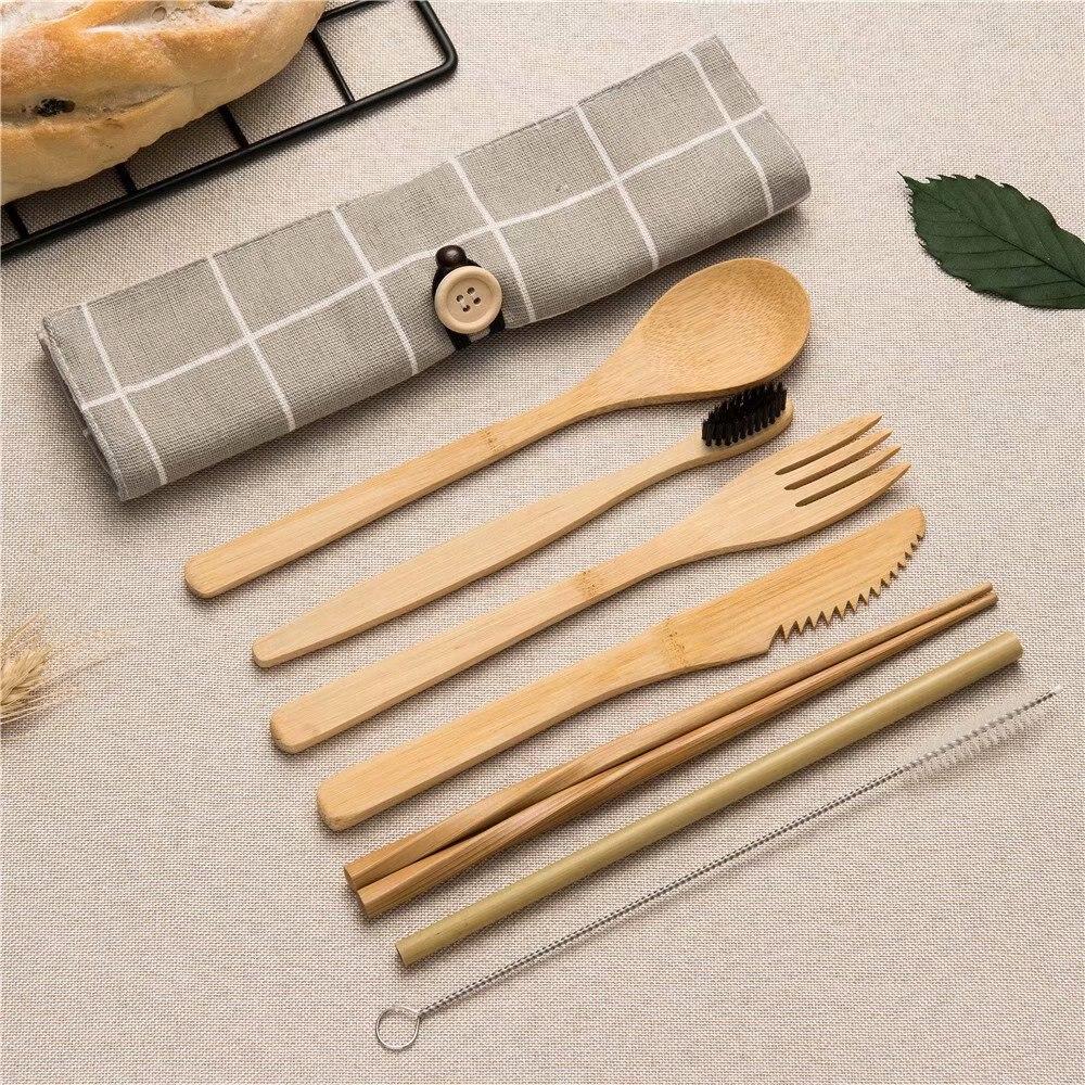 Mehrweg Bambus Besteck Set für picknick Holz Messer Gabel Löffel Stäbchen Reise Schneiden Tasche Geschirr Sets Kochen Küche Werkzeug