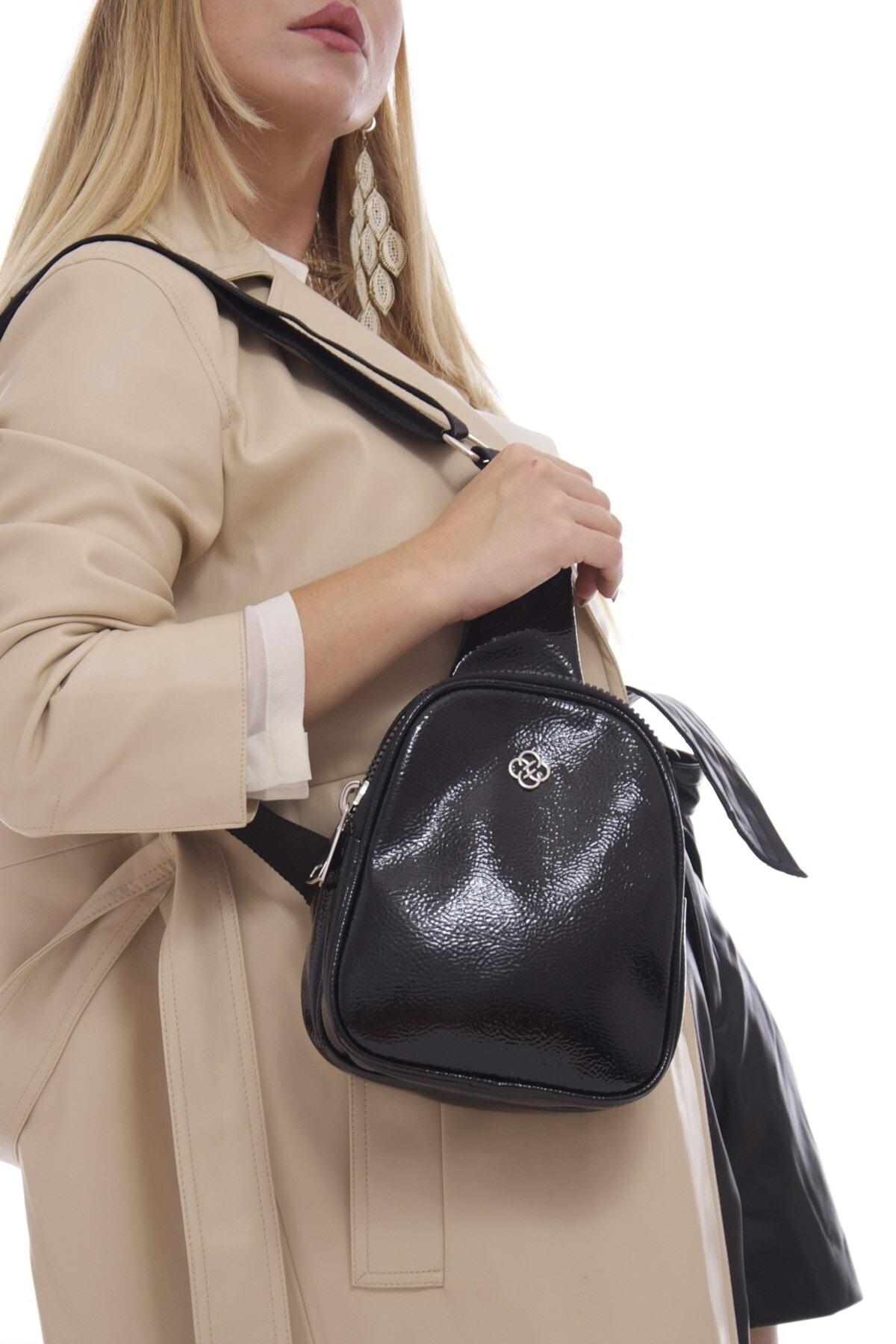 Couro de Patente Pingente de Ombro e Cruz Feminina Preta Dois Compartimentos Freesbag Cintura Bolsa Fb3098