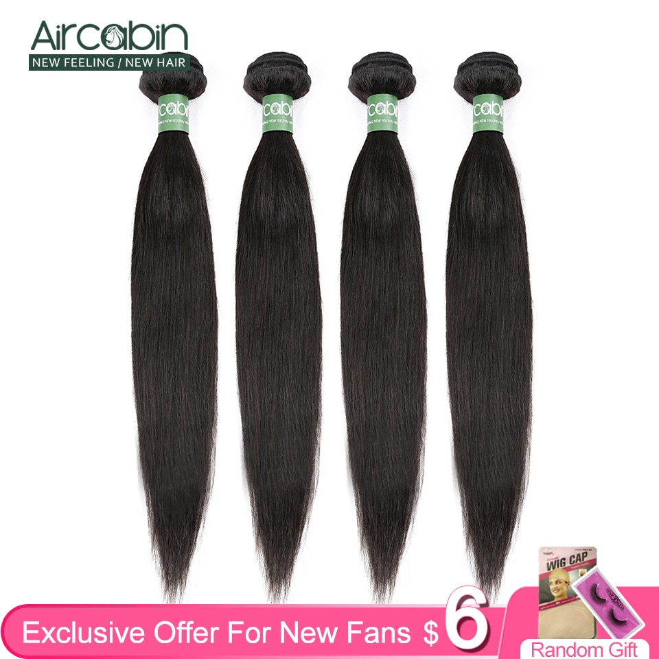 Aircabin pacotes de cabelo reto 8-30 32 Polegada brasileiro 100% remy extensões do cabelo humano 1/3/4 peça cor natural tecer cabelo
