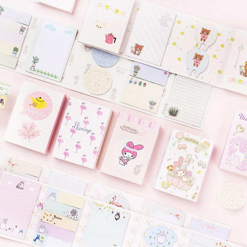 120 hojas Kawaii notas adhesivas Cute Unicorn Bloc de notas plegable Bloc de notas para niños niñas regalos escuela Oficina suministros papelería