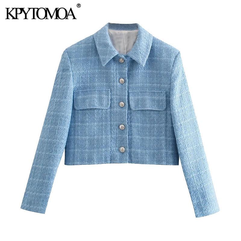 KPYTOMOA Women 2021 Fashion Single Breasted Tweed Cropped Blazer Coat Vintage Long Sleeve Pockets Female Outerwear Chic Veste