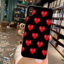 YJZFDYRM negro rojo corazón jugar negro carcasa suave teléfono Capa para iPhone 11 pro XS MAX 8 7 6 6S Plus X 5S SE 2020 XR funda