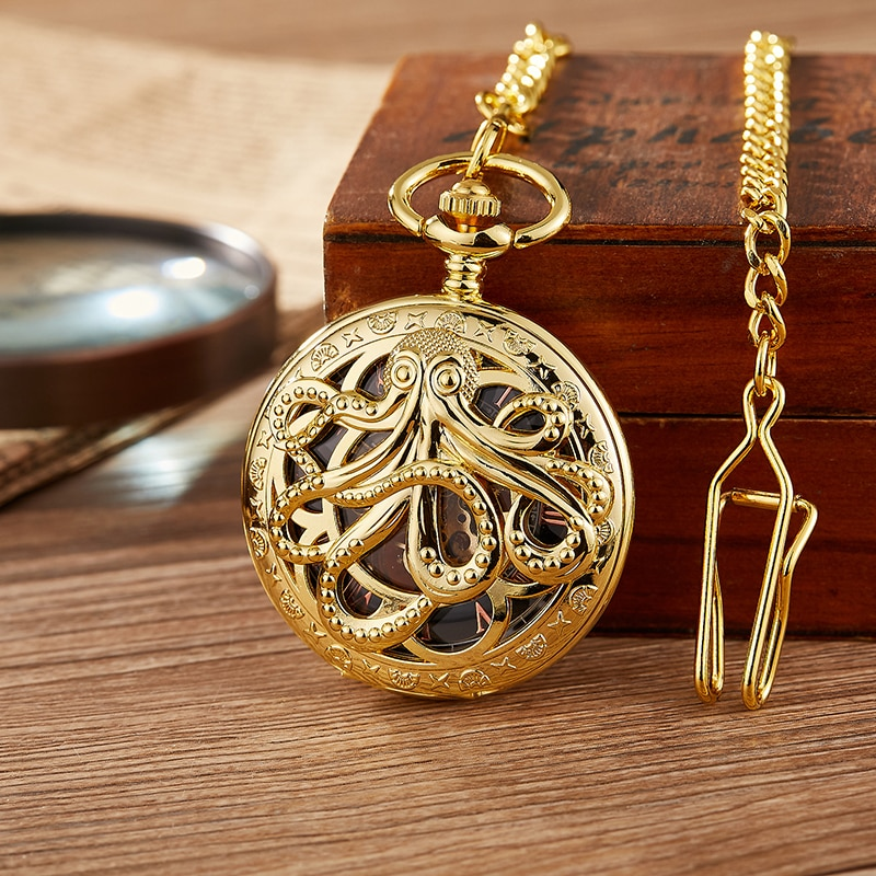 Fashion Gold Octopus Mechanical Pocket Watch Hollow Half Hunter  Steampunk Watches with Chain for Men Women
