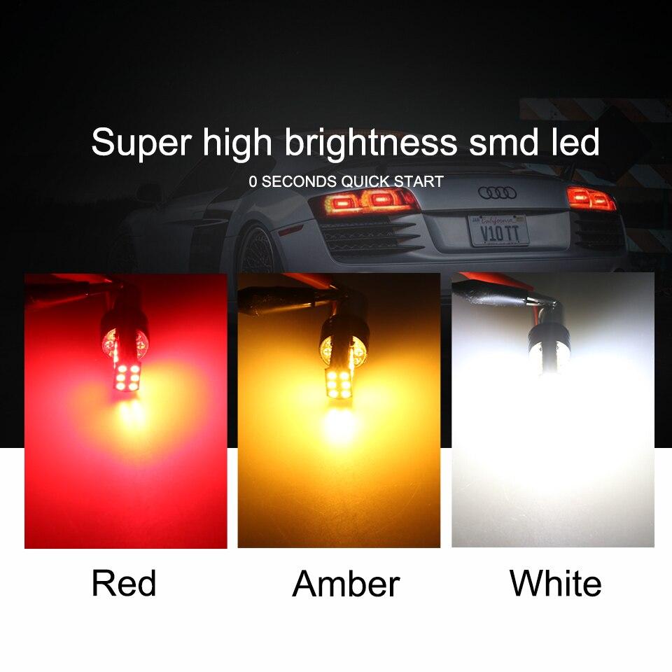 Купить с кэшбэком ANMINGPU 2x Signal Lamp Bay15d Led 1157 P21 5W 3030SMD Super Bright BA15S P21W BAU15S PY21W 1156 LED For Car Brake Backup Light