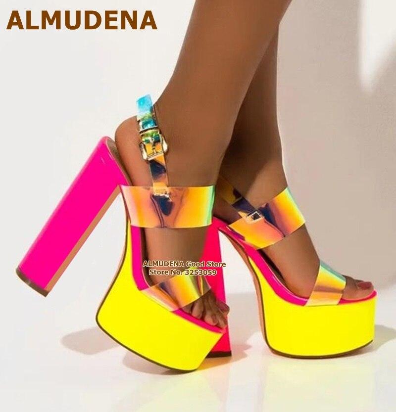 ALMUDENA-صندل نسائي بكعب سميك وردي ، حذاء زفاف PVC لامع مع منصة
