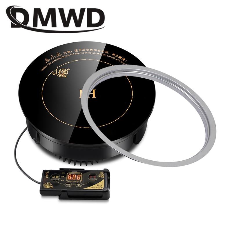 DMWD, cocina de inducción magnética redonda, control de cable, miniquemador de cocina integrado, olla caliente comercial a prueba de agua, cocina vitrocerámica