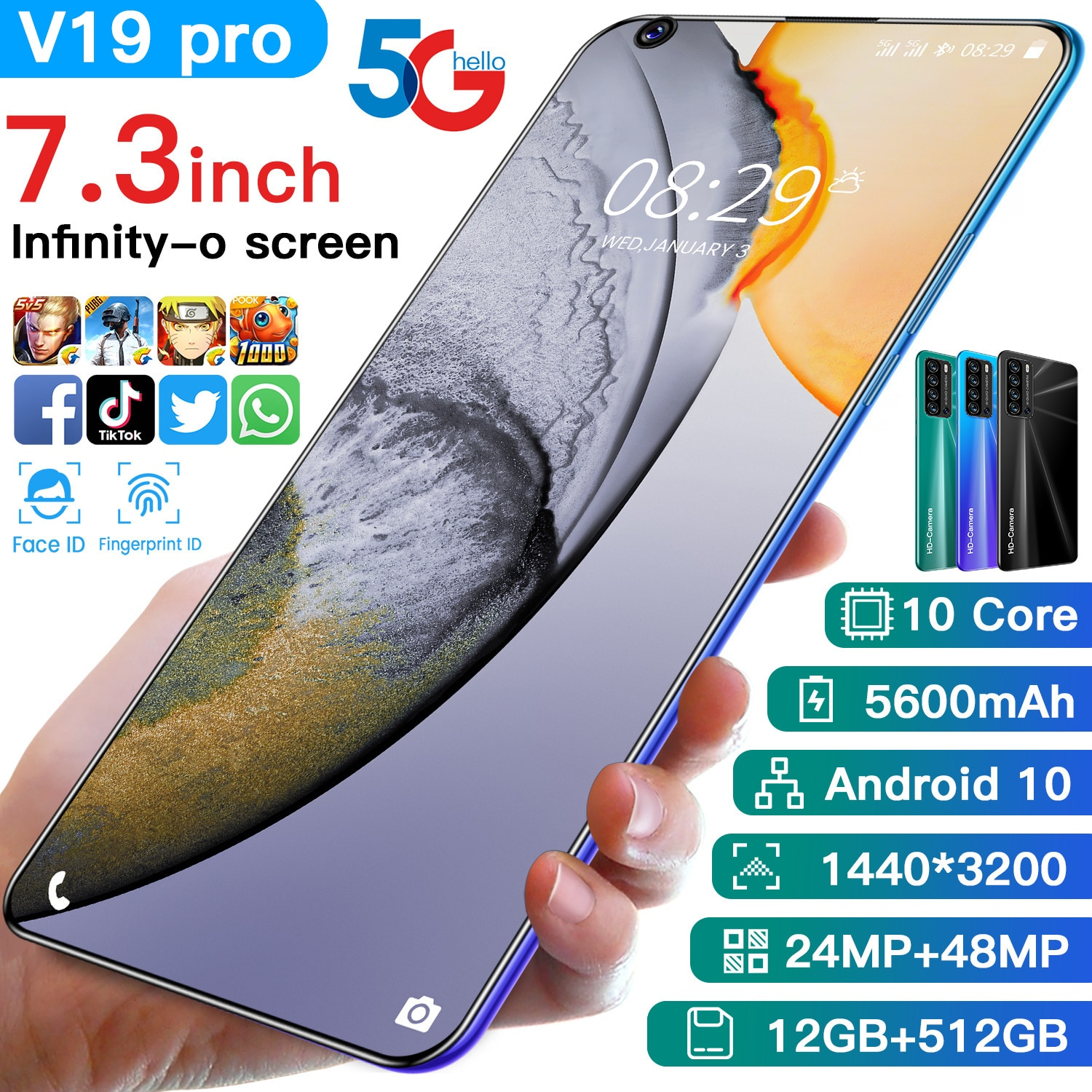 Global Version V19 Pro Smartphone Snapdragon888 12GB RAM 512GB ROM Deca Core 5600mAh 4G 5G 48MP Android11 Undefined Mobile Phone