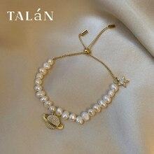 Taran Antique Style Freshwater Pearl Bracelet Rhinestone New Ball Pendant Light Luxury Texture Inter