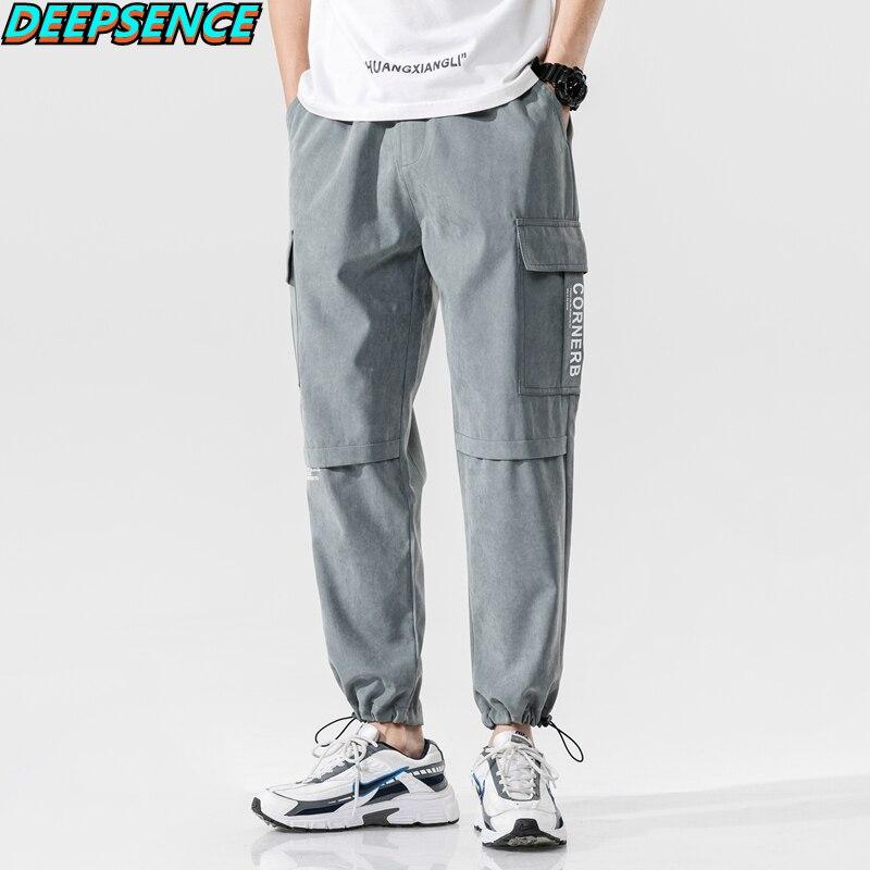 2021 New Four Seasons Polyesterh Hip Hop Casual Mid Cargo Pants Men Pockets Drawstring Loose Fit Ank
