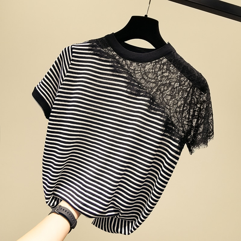 Fashion O collar Lace stitching sweater bottoming shirt women's Loose stripe thin pullover  summer Short sleeve