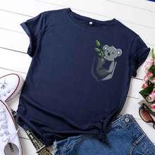 100% baumwolle sommer frauen boutique mode lässig Oansatz kurzarm tasche koala gedruckt tops baumwolle T-shirt