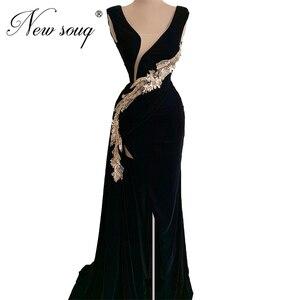 African Black Velvet Evening Dress Deep V Prom Dresses Beaded Party Gown Robe Soiree Saudi Arabic 2020 Evening Wear For Weddings
