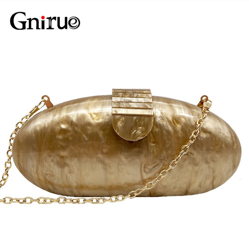 Gnirue-محفظة نسائية فاخرة من الأكريليك ، حقيبة سهرة طويلة مستديرة ، حقيبة يد غير رسمية للحفلات الراقصة