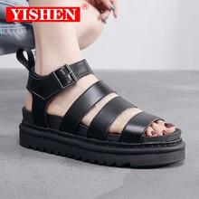 YISHEN 2021 Summer Sandals Shoes Woman Flats Platform Sandals Women Soft Leather Casual Open Toe Thi