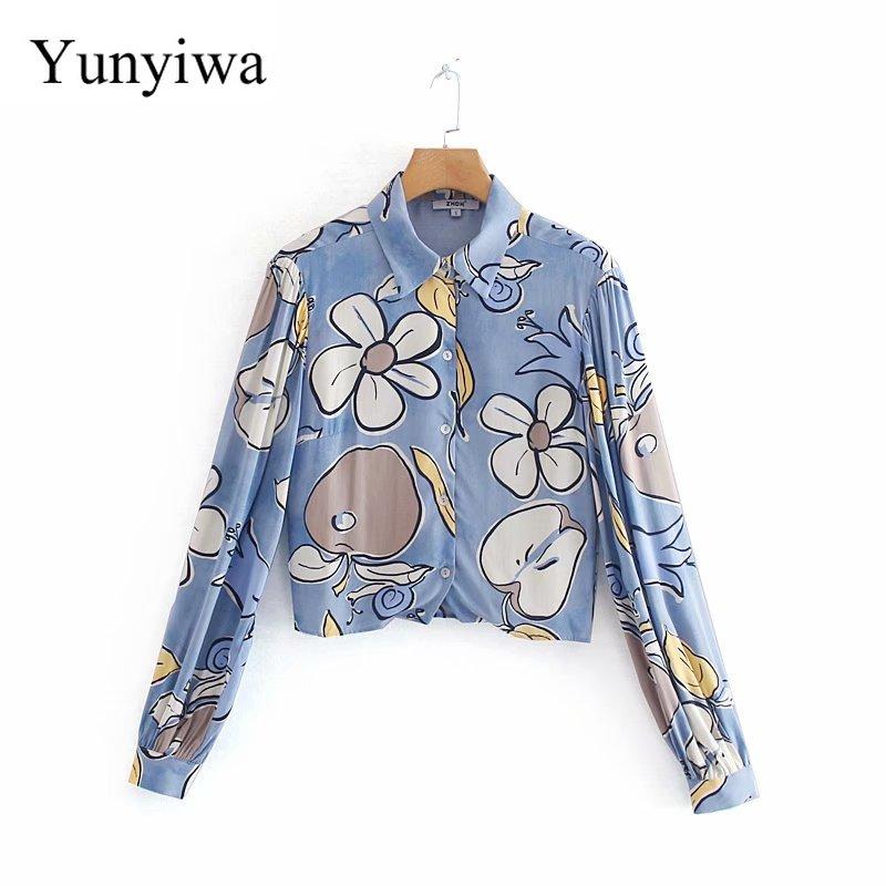 2020 feminino elegante flor impressão casual solto blusa camisas feminino doce lanterna manga chique lazer blusas topos