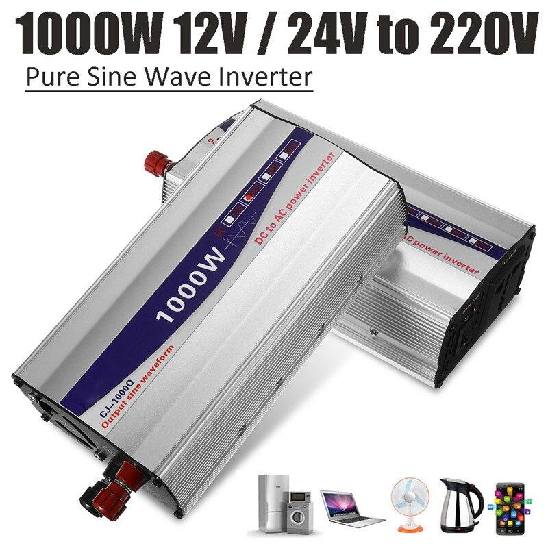 1 مجموعة شاشة LED 1000 واط ، محول طاقة موجة جيبية نقية ، 12 فولت/24 فولت إلى 220 فولت ، محول إمداد الطاقة