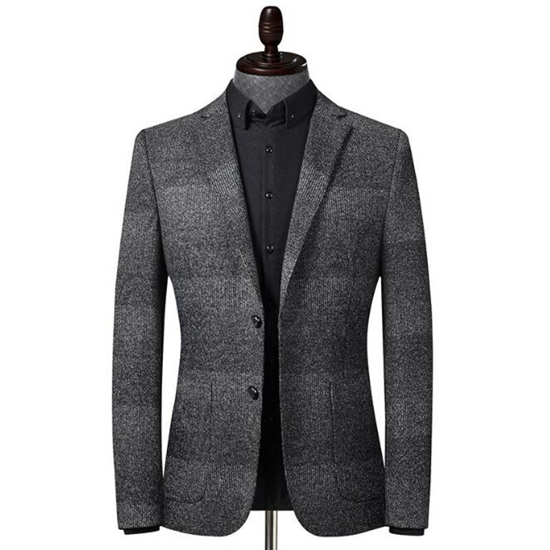 Abrigo de Otoño Invierno para hombre, Blazer de moda con costuras tejidas para hombre, traje de chaqueta elástica para hombre, chaqueta cárdigan informal, abrigos superiores