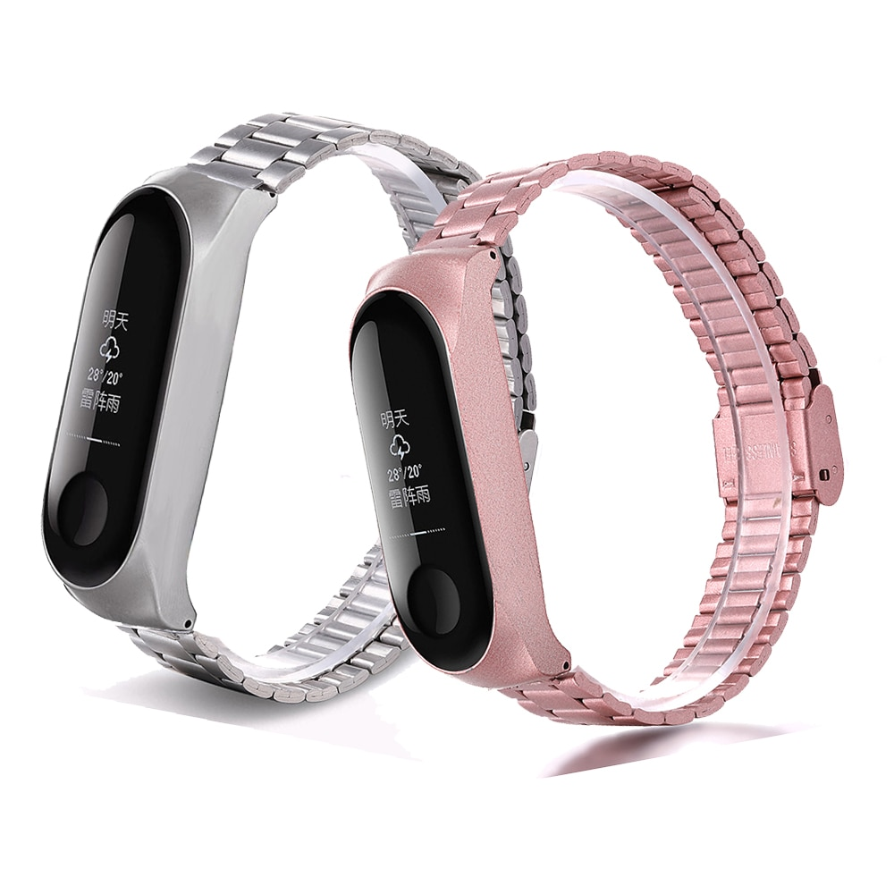 For Xiaomi band Mi band 3/4/5/6 metal strap stainless steel three-beads band strap bracelet  buckle free shipping
