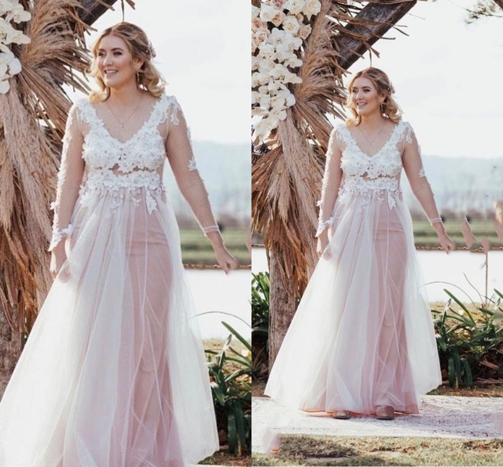 Wedding Dress Plus Size Blush Pink Long Sleeve V-Neck Sheath Floor Length Lace Appliques Bridal Gown Gorgeous Tulle Elegant