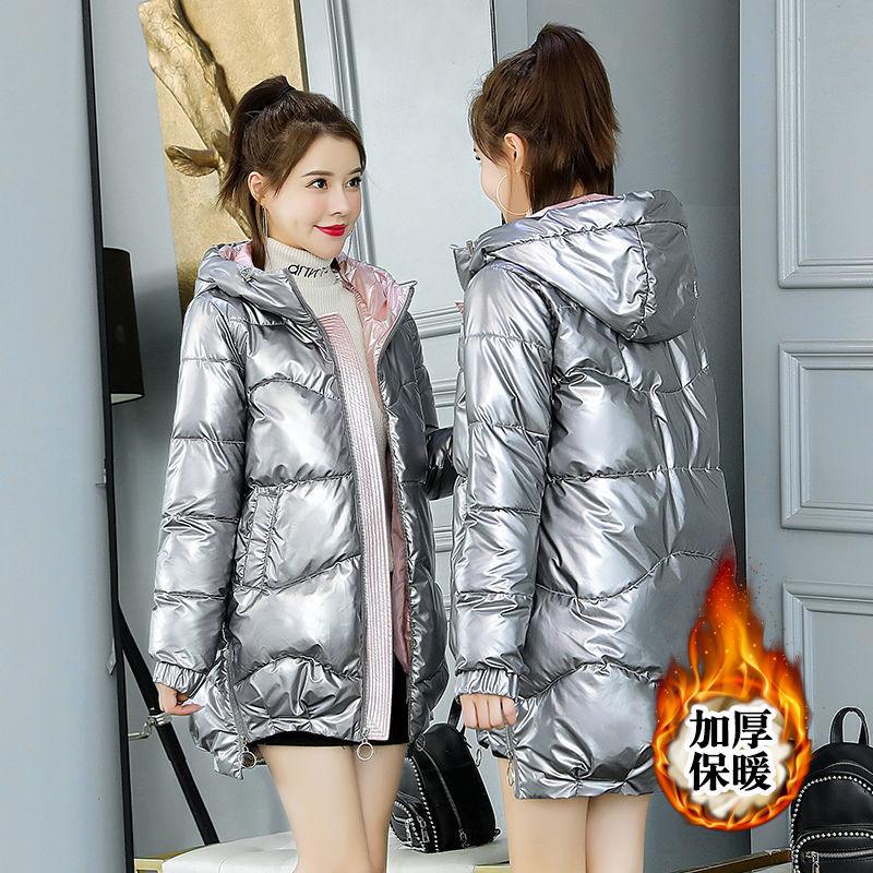Модная женская Глянцевая парка 2021, толстая зимняя куртка, пуховая парка с капюшоном, Женская парка с хлопковой подкладкой, куртка оверсайз