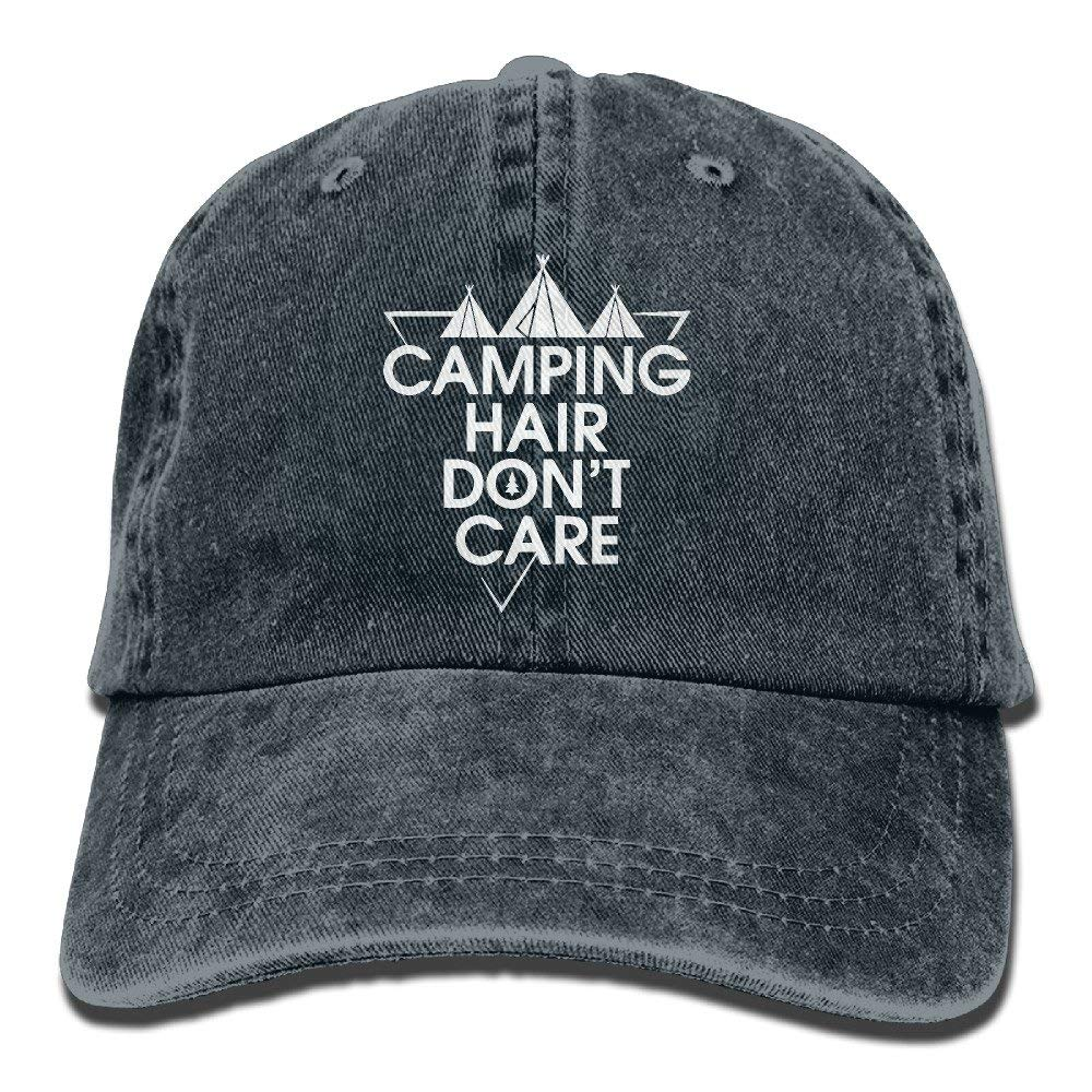 Camping Hair Don t Care Unisex Adult Denim Washed Cowboy Trucker Hat Retro Adjustable Baseball Cap