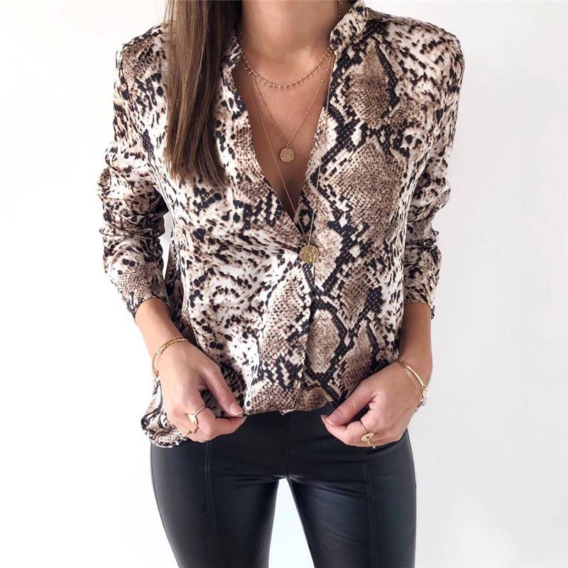 Frauen Schlange Haut Druck T Shirt Top Bluse Tops Sexy Lange Hülse Drehen Unten Kragen Elegante Damen Casual Blusen